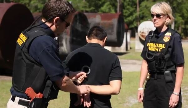 Agents from the Environmental Protection Agency's OIG conduct handcuffing training. (Photo: EPA)