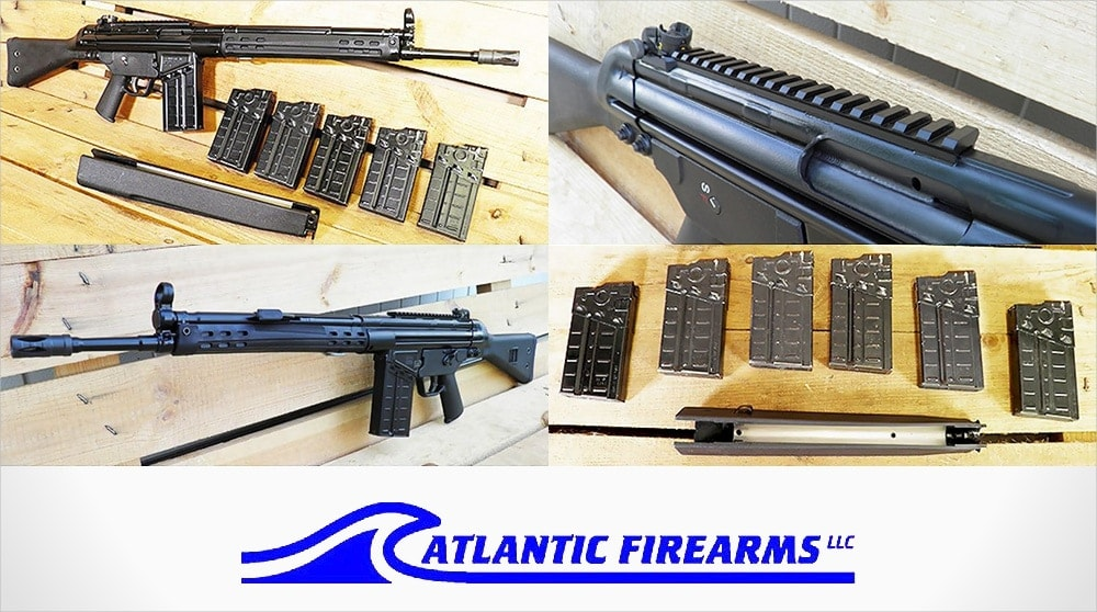 The PTR 91 A3S .308 rifle package includes the gun, six mags, an extra original-style handguard and not shown, a padded hard case for $999.
