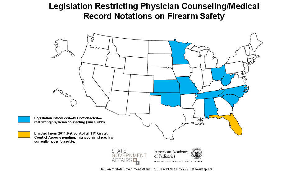 According to the American Academy of Pediatrics, 11 states have attempted legislation to restrict physician counseling about firearms in recent years. (Photo credit AAP)