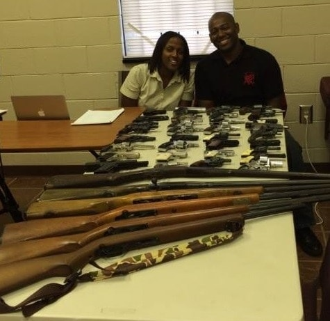 Niki Watson, left, and Danny Menard with Future Successors at a gun buyback in Augusta, GA last week. (Photo: Facebook)