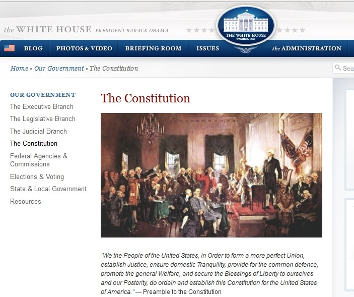 The White House's webpage on the U.S. Constitution is under fire from gun rights advocates who take exception to the site's description of the Second Amendment.  (Photo: Whitehouse.gov)