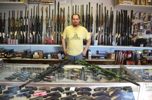 Joe Palumbo, owner of the Albion Gun Shop. (Photo: Tom Rivers/Orleans Hub.com https://www.orleanshub.com/news2014/Albion-Gun-Shop-in-SAFE-Act-crosshairs.htm )