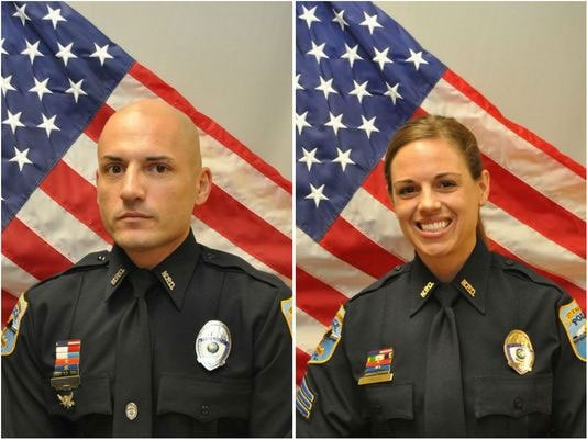 "Officer Luis ""Dave"" Monroig (left) had been a police officer for 10 years and Sgt. Amy Young (right) has been with the force for 14 years. (Photo: Naples Police Department)"
