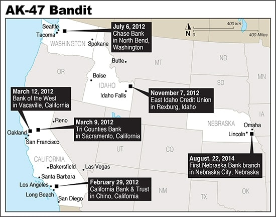 This map shows the locations of the AK Bandit bank robberies and attempted robbery. (Source: FBI)