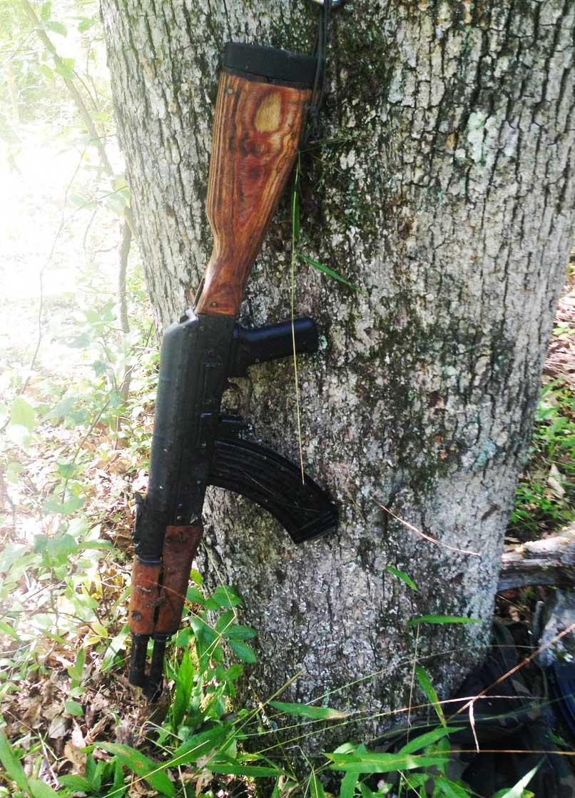 Police found an AKM semi-automatic rifle either stashed or abandoned during the manhunt for Eric Frein. (Photo: Pennsylvania State Police)