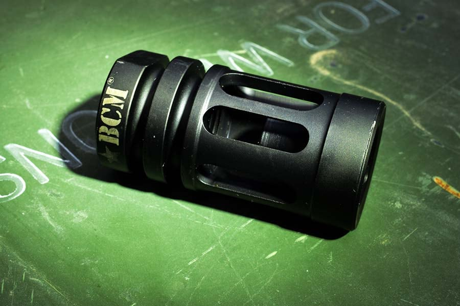 Some flash suppressors are more complex than others; BCM's flash hider looks deceptivly like a standard A2 birdcage, but contains complex inner cuts that make it more effective. (Photo: Jim Grant)