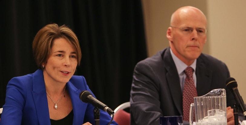 Massachusetts attorney general candidates Maura Healey and Warren Tolman, both Democrats are facing off over smart guns. (Photo: Suffolk.edu)