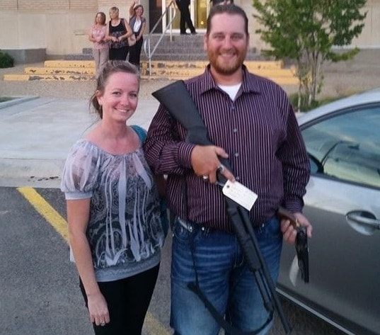 Michael Keoughan, right, after reclaiming his firearms following his acquittal on charges of disorderly conduct in Andrews, Texas. (Photo: Facebook https://www.facebook.com/photo.php?fbid=10204539325305375&set=a.1756139225535.103073.1300607671&type=1&theater )