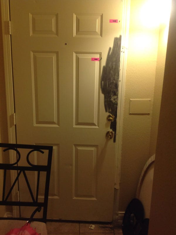 The inside of the victim's door after it was kicked in by Jackson. (Photo: Imgur)