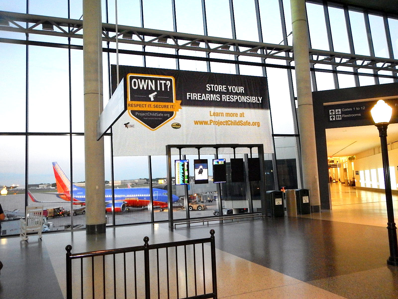 National Shooting Sports Foundation's Project ChildSafe banner at an undisclosed airport. (Photo: NSSF)