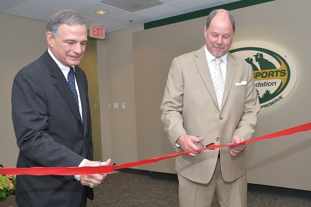 NSSF President Steve Sanetti, left, and Jeff Reh, NSSF Board of Governors Co-Vice Chairman and Beretta USA General Counsel and Vice General Manager, officially open NSSF's new Washington, D.C., office. (Photo: NSSF)