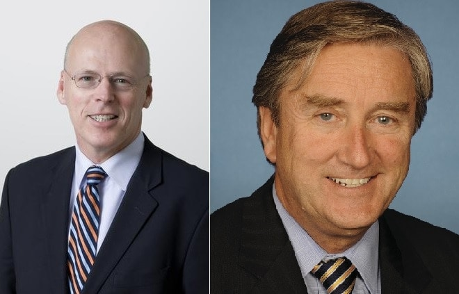 Two failed Massachusetts Democratic primary candidates, state attorney general hopeful Warren Tolman, left, and nine-term incumbent U.S. Rep. John Tierney, right, were also huge backers of so-called 'smart gun' technology.