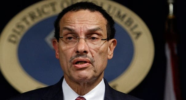 """Washington D.C. Mayor Vincent Gray, D, told reporters, """"I happen to be one that really does not support having people walking around with guns, concealed or otherwise,"""" at Wednesday's press conference. (Photo: AP)"""