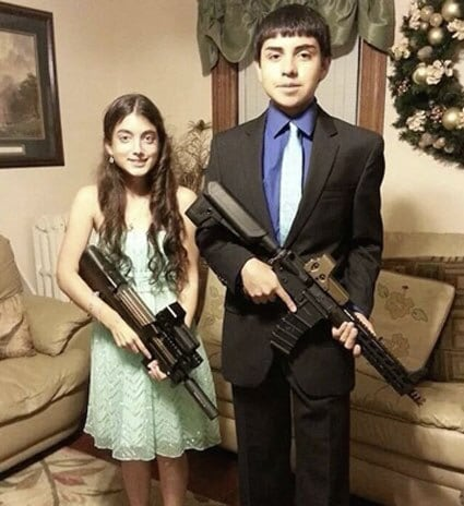 One might argue that the teens were going for a Bonnie and Clyde kind of look. (Photo: Facebook)