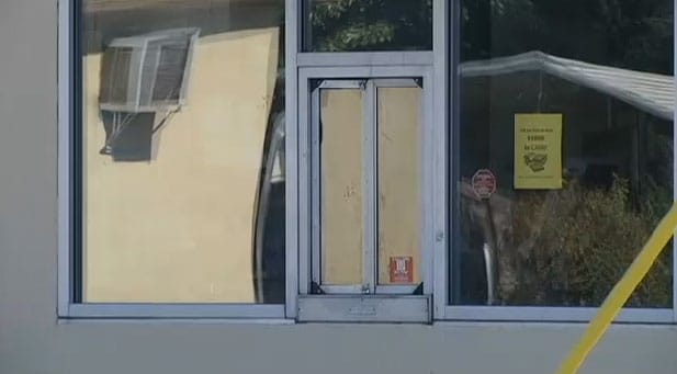 Broken glass and police tape are remnants remaining from Sunday night's robbery. (Photo: WVTM)