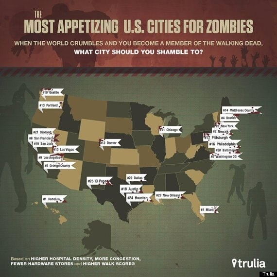Most appetizing U.S. cities for zombies ranked (Infographic)