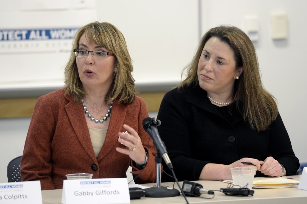 Former U.S. Rep. Gabby Giffords, left, spoke in Maine on increasing gun control legislation. Listening is Hayley Zachary of Americans for Responsible Solutions. (Photo: Shawn Patrick Ouellette/Portland Press Herald)