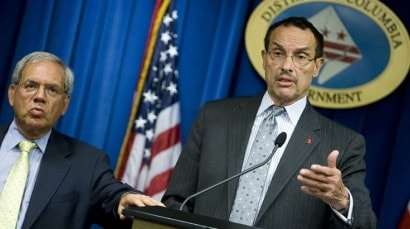 Washington D.C. Attorney General Irvin Nathan (left) and Mayor Vincent Gray caution that, while the District may have a new concealed carry law, those found carrying a gun without a permit would be in hot water. (Photo: Legaltimes.com)