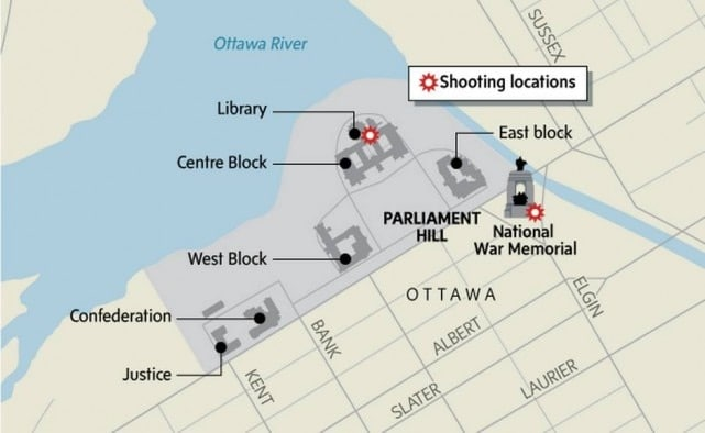 Map of the active shooter incident in Ottawa, Canada, on Wednesday.