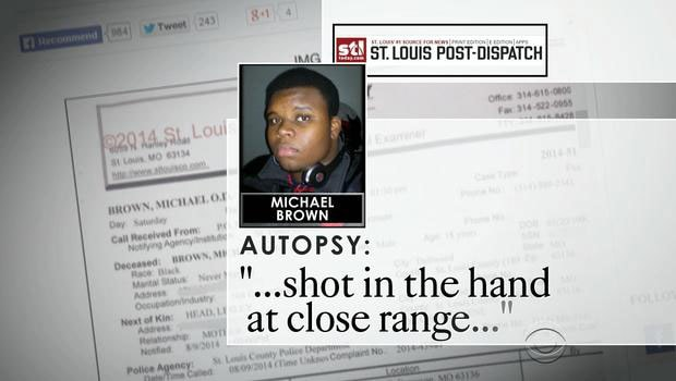 The autopsy showed that Michael Brown had been shot in the hand at very close range, which according to Darren Wilson, occurred as the two struggled to gain control of Wilson's service pistol. (Photo: CBS)