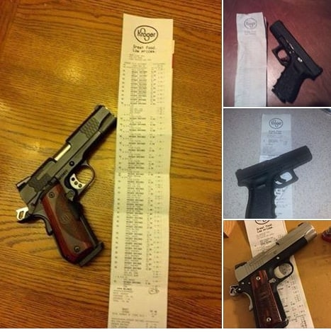 """A gun rights group asked its members to tell local Kroger managers,""""thank you"""" and post their receipts to Facebook to counter-protest the Moms group. (Photo: Ohio Carry)"""