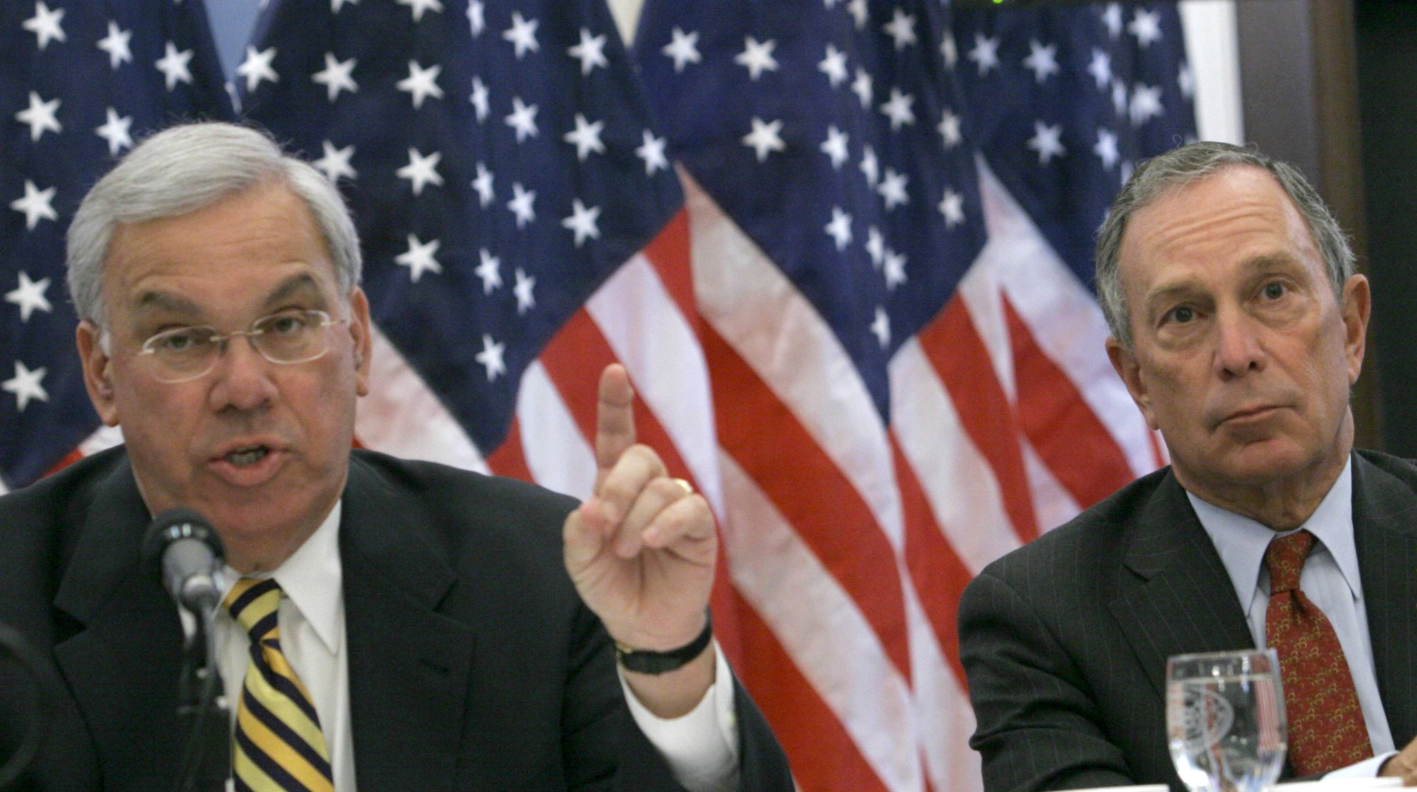 Then-New York Mayor Michael Bloomberg, right, listens as then-Boston Mayor Thomas Menino makes opening remarks at the first National Summit on Illegal Guns at Gracie Mansion in New York, Tuesday April 25, 2006.  (Photo: AP /Bebeto Matthews)