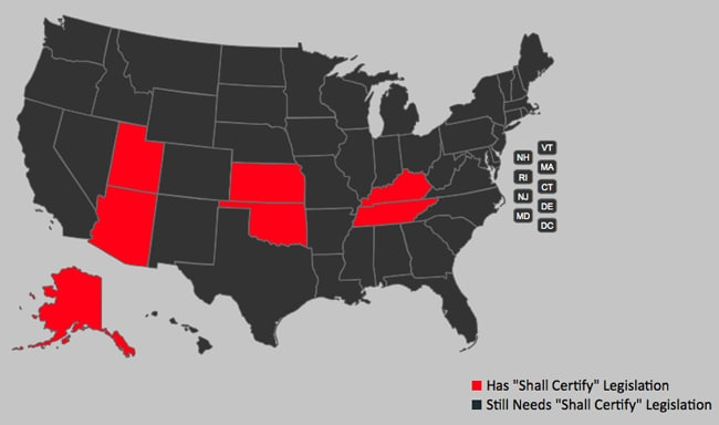 "A keystone of the new NFA Freedom Alliance (NFAFA) is to push for more ""shall certify"" laws, currently only in seven states. (Image: NFAFA)"
