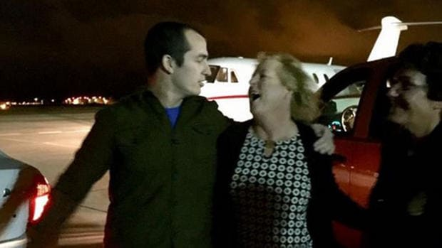 Andrew Tahmooressi and his mother Jill, pictured here just after his release from a Tijuana, Mexico jail on October 31, 2014. (Photo courtesy of the Tahmooressi family.)