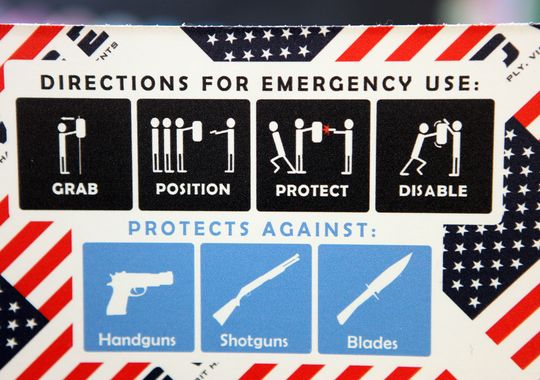 Directions on how to use the new ballistic whiteboards issued to teachers and school employees in Delaware. (Photo: Jennifer Corbett/Delaware News Journal)