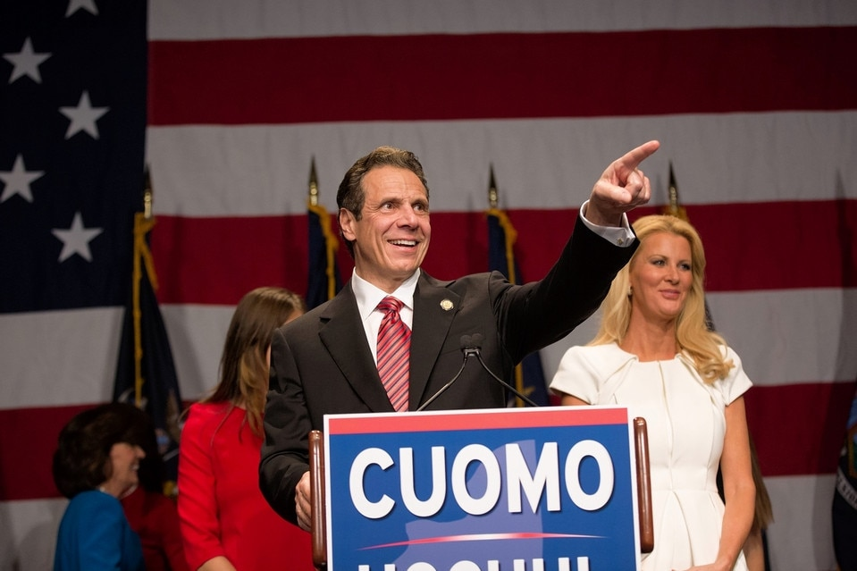 Gov. Andrew Cuomo (D) with his girlfriend, Sandra Lee, at his election returns event in Manhattan on Tuesday night. (Photo: The Wall Street Journal)