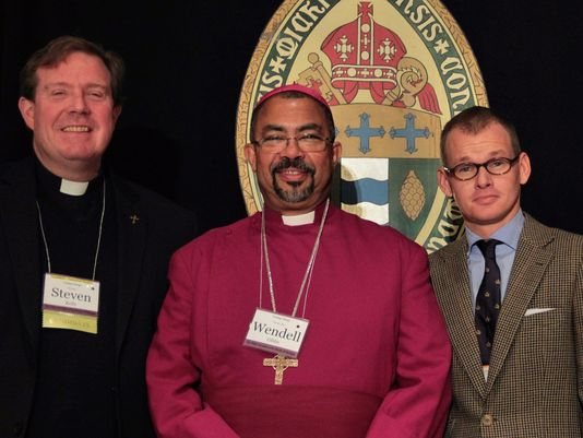 Rev. Steven Kelly of St. John's Episcopal Church; the Right Rev. Wendell Gibbs Jr., bishop of the Episcopal Diocese of Michigan; and Dennis Lennox, a member of St. John's Episcopal Church, at the 180th annual convention of the Episcopal Diocese of Michigan. (Photo: Dennis Lennox to the Detroit Free Press)