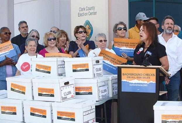 Gun control groups delivered nearly 250,000 signatures to election officials in Nevada for a ballot referendum expanding background checks to include even private gun sales. (Photo: Everytown)