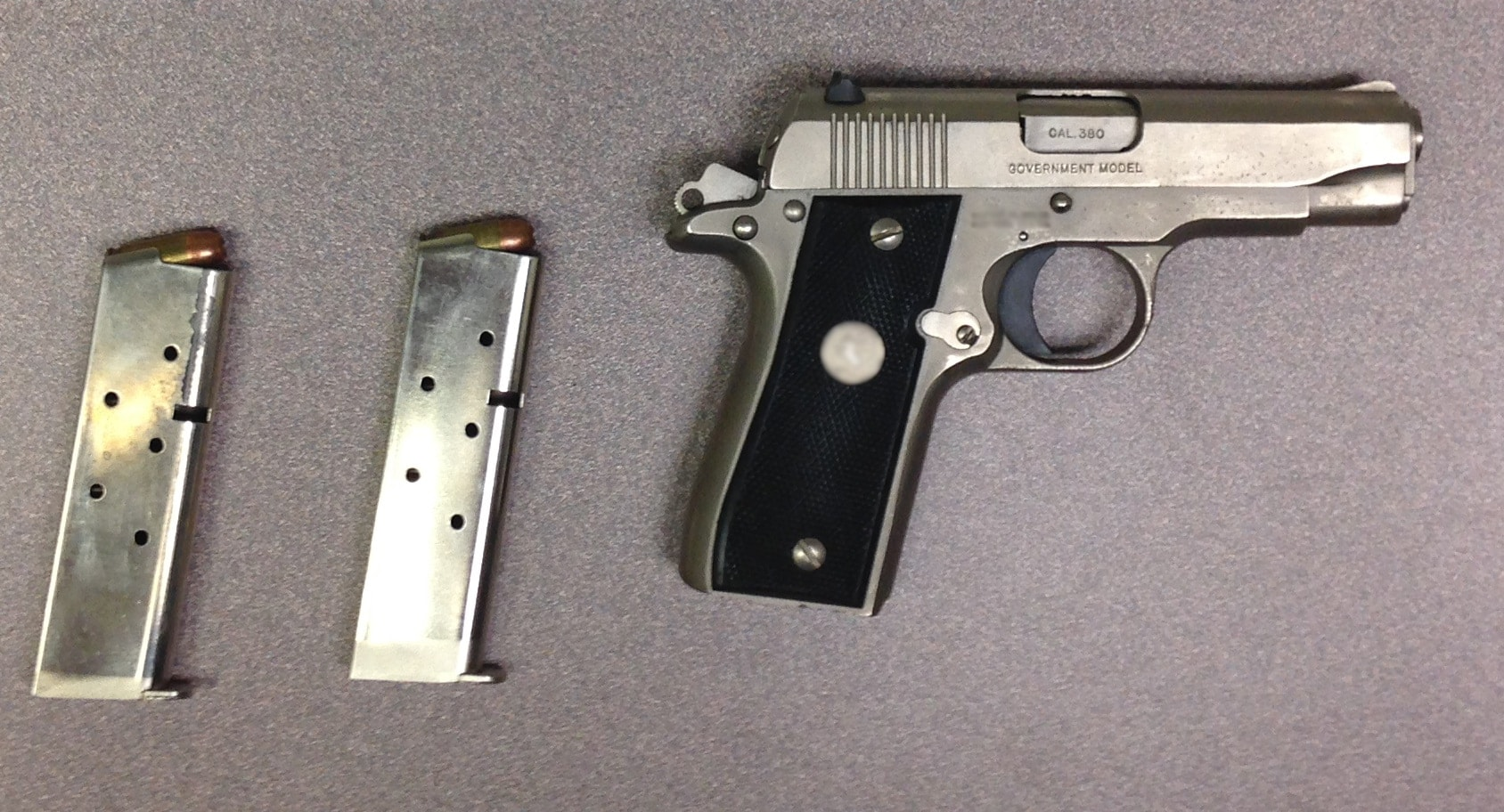 Roy Fielding Neel Jr.'s former Colt .380, now property of the Canadian government. (Photo: Canada Border Services Agency)
