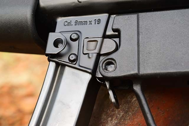 To make up for the unreachable the mag release button, HK added a paddle release. (Photo: Jim Grant)