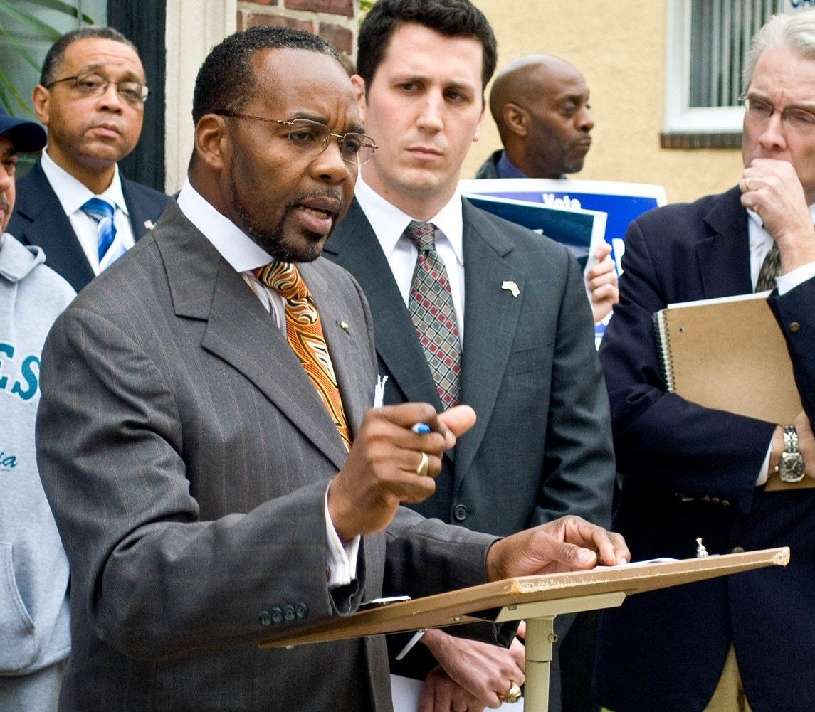 Rep. Thaddeus Kirkland (D), at podium, wants to ban the use of human silhouette targets in the Commonwealth of Pennsylvania for all but law enforcement. (Photo: The Chester Spirit)