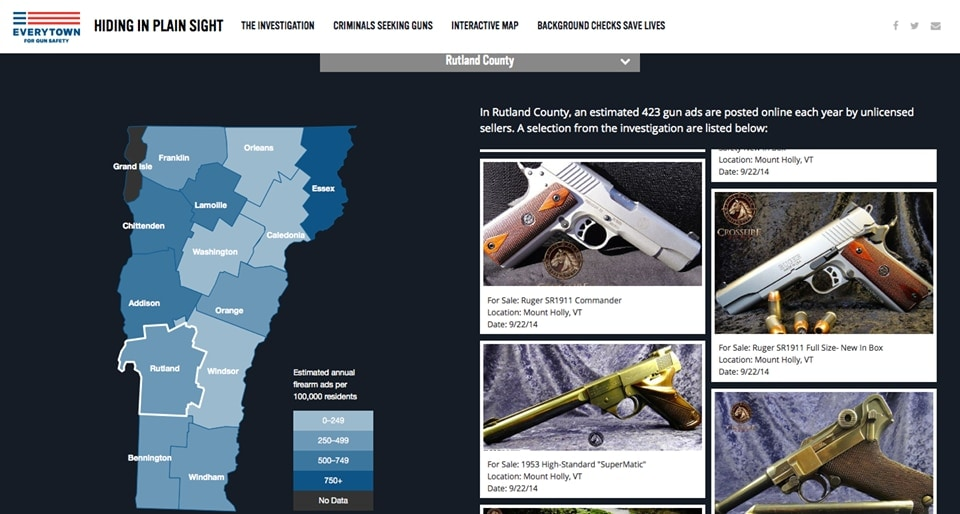 Crossfire Arms noticed their distinctive watermark in Everytown's latest report focusing on online gun sales. (Photo: Crossfire)