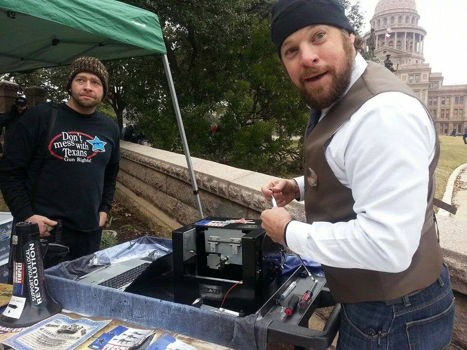 Members of Come And Take It Texas complete an AR-15 lower receiver at the Texas Capitol while showing support for Constitutional carry Tuesday. (Photo: CATITX)