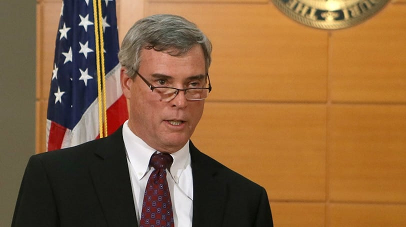 St. Louis County Prosecutor Robert McCulloch announces the grand jury¹s decision not to indict Ferguson police officer Darren Wilson in the Aug. 9 shooting death on Michael Brown on November 24, 2014, at the Buzz Westfall Justice Center in Clayton, Missouri. (Photo: United Press International)