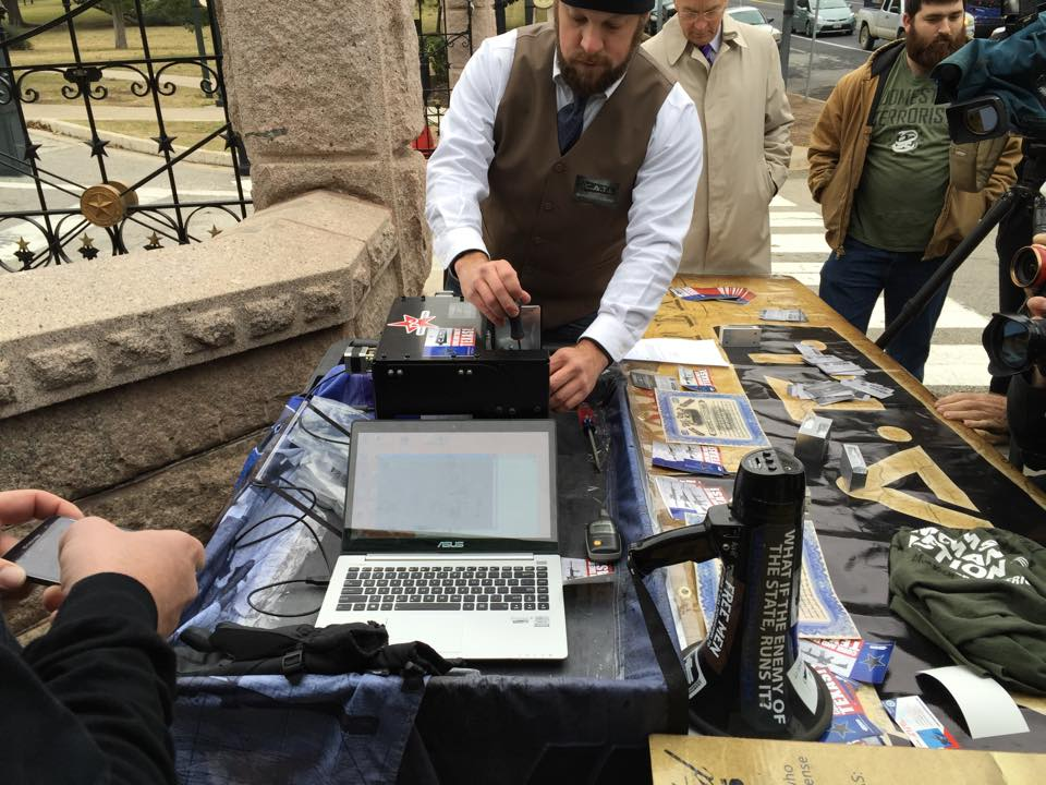 One of Cody Wilson's Ghost Gunner portable CNC machines, provided through his company Defense Distributed, produced two working AR-15 lowers from 80 percent blanks this week in a demonstration at the Texas Capitol. (Photo: Come And Take It Texas)