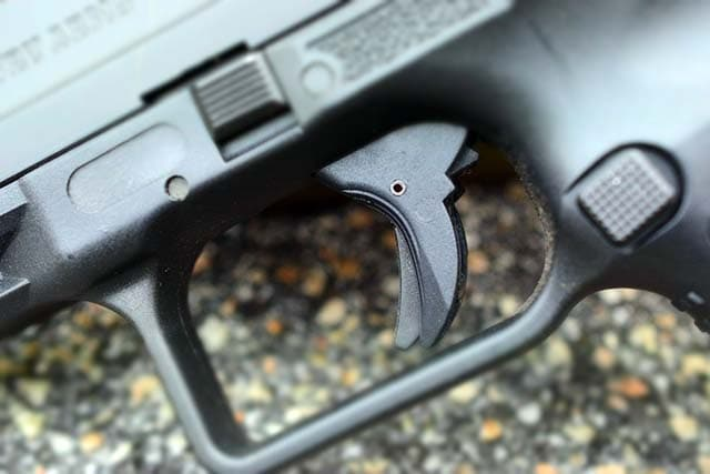 The TP9SA trigger bares a strong similarity to the Glock safety trigger. (Photo: Jim Grant)