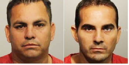 Florida residents (from left) Nelson Cartagena, 41, and Dairo Cartagena, 38, caught over 20 years for smuggling guns to Colombia that included .223 caliber pistols.