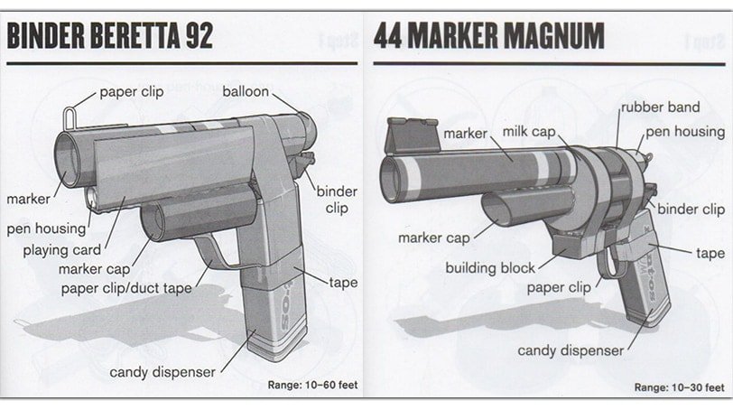 "A book at the Liberty Science Center teaches kids how to make fake guns out of ordinary household items. (Photo: ""Mini Weapons of Mass Destruction 2: Build a Secret Agent Arsenal"")"