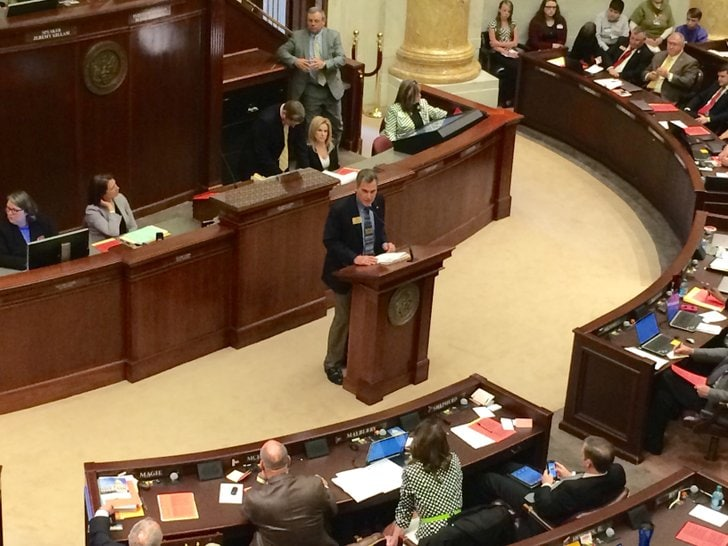 Rep. Charlie Collins, R-Fayetteville, presents House Bill 1077 Monday to allow concealed carry on public college campuses by faculty. (Photo Danielle Kloap/Arkansas Democrat-Gazette)