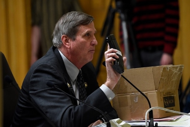 Colorado State Sen. John Cooke, R-Greeley, holds a magazine that can be modified to hold 30 rounds as he speaks to the Senate Judiciary Committee during a hearing for Senate Bill 175 last week (Photo: Joe Amon/The Denver Post)