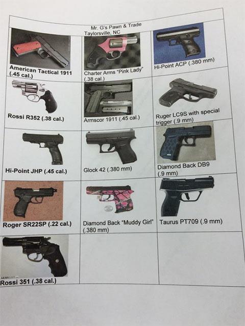 List of stolen guns.
