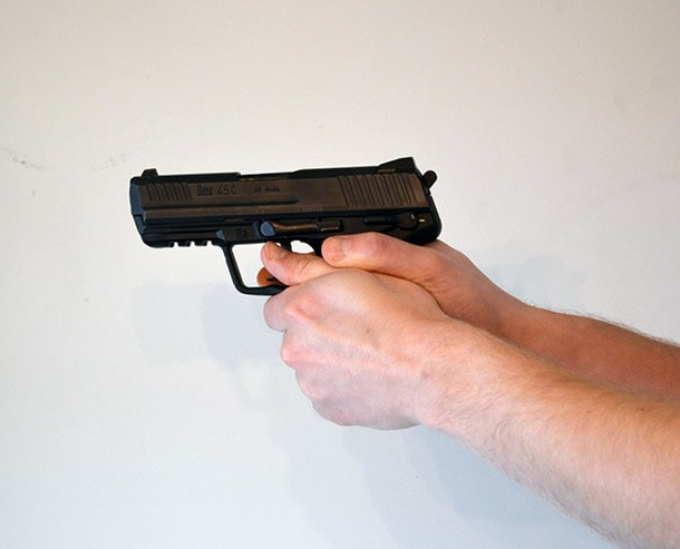 holding pistol too low