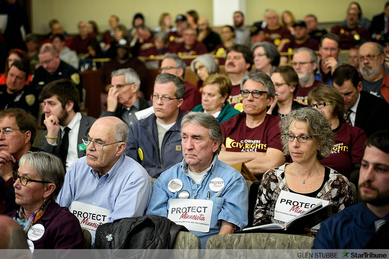 Gun rights and gun control advocates stocked the gallery during a hearing on legalizing federally compliant suppressors in Minnesota this week. (Photo: Glen Stubbe/Start Tribune)