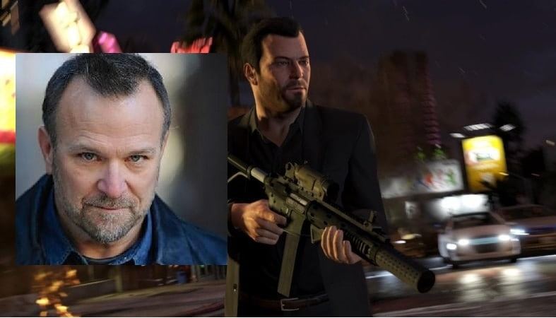 Ned Luke, inset, who recently appeared as a helpful counter attendant in a very anti-gun gun store, is best known for being Michael De Santa in Grand Theft Auto V, who is kind of OK with gun violence.