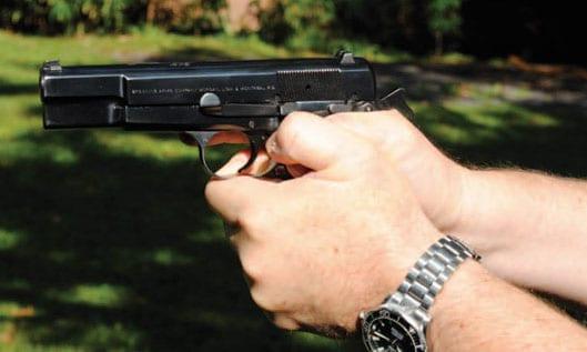 Thumbs down pistol grip