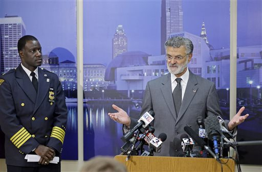 Cleveland Mayor Frank Jackson seen here with Police Chief Calvin Williams now has to defend the city from a lawsuit over a new gun control initiative passed this week. (Photo: Fox 11)